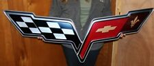 C6 Corvette 2009-2013 ZR1 Crossed Flags Supercharged Metal Sign - 34x8