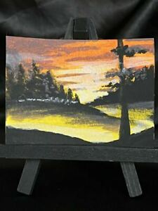 Original ACEO Beautiful Golden Sunset Medium Acrylic on Paper Signed By Artist