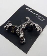 Dark Silver Schnauzer Dog Brooch Pin
