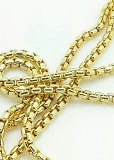 """14k Yellow Gold Round Box Link Necklace Pendant Chain 20"""" 1.7mm"""