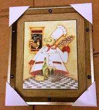 """1 NEW FAT CHEF WALL PICTURE, Bon Appetit, Chef with Pizza Pie, app 12.5"""" x 10.5"""""""
