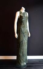 $4260 Vera Wang 10 Moss Green Evening Gown Dress Tulle Beaded Sequin Shawl Net M