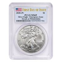 2020 (P) 1 oz Silver American Eagle PCGS MS 69 FDOI Emergency Issue
