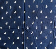 """Cotton Fabric BATIK NAVY BLUE with WHITE STAMPED MINI FLOWERS 40""""Wide x 2 YARDS"""