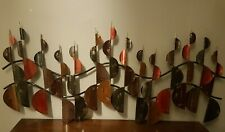 Large Contemporary Metal Wall Art in Reds, Gold Mustards, Browns