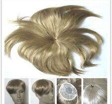 dark blonde clip in fringe bangs hide bald grey patch hairpiece extension toupee