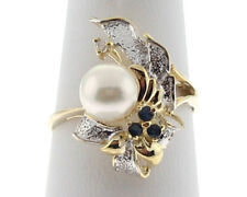 Cultured Pearl Sapphire Diamond 14k Gold Cocktail Ring