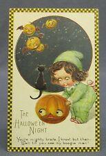 Antique Halloween Postcard Winsch Checkerboard Girl in Pajamas JOL Flying Boogie