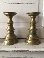 Williamsburg Restoration Virginia Metal Workers Brass Pillar Candlestick Pair