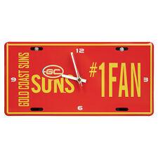 AFL Gold Coast Suns Aussie Rules License Number 1 Fan Plate Metal Clock