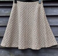 Hobbs Pink/Cream/Black Basketweave Tweed Pure Wool Flippy Skirt UK10 EU38