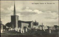 St. Thomas Ontario Old English Church & Cemetery c1910 Postcard