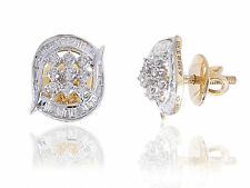 Pave 0.69 Cts Natural Diamonds Stud Earrings In Fine Hallmark 14K Yellow Gold