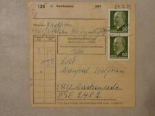 """DDR Paketkarte MEF 60 Pfg Ulbricht Poststelle NVA """"Uthleben Nordhausen"""" 29.2.72"""