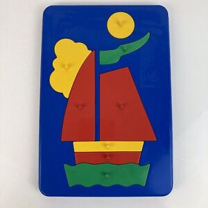 Rare Vintage Crescent Playtoys Bright Plastic Tray Puzzle Yacht Design UK Made