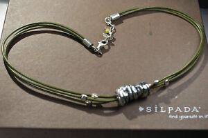 Silpada 925 Green Cord Hammered Tube Bead Pendant Necklace N1481