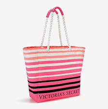Victoria's Secret LIMITED EDITION CANVAS Pink Striped BEACH BAG TOTE 2017 Rope