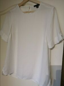 Top 10 White Short notched Sleeves pretty crepe silky light cool loose fit work