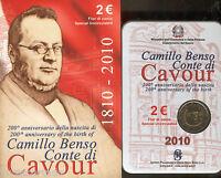 Italia 2010 Cartera oficial 2 Euros Camillo Benso Conde de Cavour