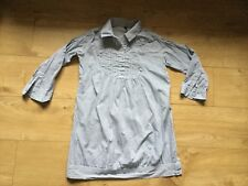 """EVIE"" LADIES GREY White  STRIPE TAB / LONG SLEEVED BLOUSE TOP SIZE 10"