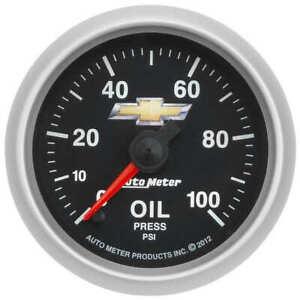 """AUT880447 Autometer 880447 Chevy Gold Bowtie Oil Pressure Gauge, 2-1/16"""", 100"""