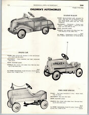 1949 PAPER AD Pedal Car Station Wagon Police Car Fire Chief Zenith Bicycle Bike