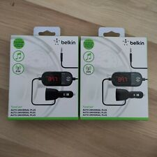 Lot of 2 Belkin Tunecast Auto Universal Plus FM Transmitters with Usb Charger