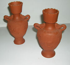Vintage Japanese Art Pottery - Twin Dragon Handle Tokoname Red Clay Dragon Vases