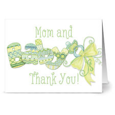 24 Note Cards - Mom and Baby Thank You Green - Green Envs