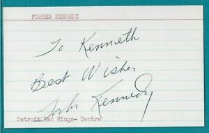 FORBES KENNEDY signed index card DETROIT RED WINGS, BOSTON BRUINS vintage