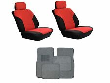 Red & Black Seat Covers W/ Charcoal Carpet floor Mats for Cars SUVS- 8 PC. Combo