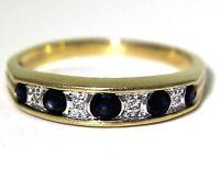 Lovely Sapphire & Diamond 9ct Yellow Gold Half Eternity ring O ~ 7 1/4