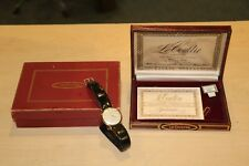 LeCoultre 14k Mens Watch w/ Leather Band w/ Box & Certificate Vintage