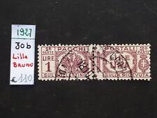 REGNO 1927 VARIETA PACCHI POSTALI 1 LIRA  LILLA BRUNO