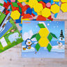 250pcs Wooden Pattern Puzzle Blocks Colourful Geometry Shapes Jigsaw Blocks