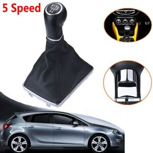 FOR VAUXHALL OPEL ASTRA H Gear Shift Knob Gaiter 5 Speed Leather Chrome 05-10