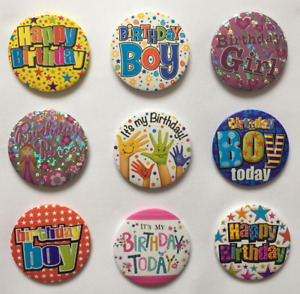 Happy Birthday Boys And Girls Small Pin Or Clip Badges Birthday Party