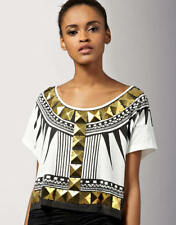 Short Sleeve Geometric 100% Cotton Tops & Blouses for Women