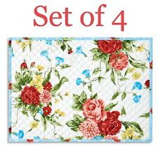 "Pioneer Woman Sweet Rose Placemats Set of 4 Quilted Reversible 14'x19""  New!"
