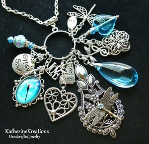VINTAGE GYPSY SOUL Hearts Dragonfly Flower Lampwork Bead CHARM PENDANT NECKLACE