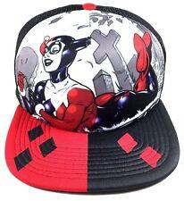 DC COMICS HARLEY QUINN GRAVEYARD SUBLIMATED MESH TRUCKER SNAPBACK HAT CAP LOGO