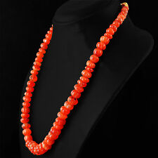 SUPERB 380.00 CTS NATURAL RICH ORANGE CARNELIAN CARVED BEADS NECKLACE STRAND