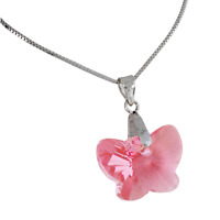 The Olivia Collection Small Pink Crystal Butterfly Pendant on Silver Chain
