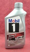 NEW Mobil 1 Racing 4T 10W-40 Advanced Full Synthetic 4 Cycle Motorcycle Oil 1Qt.