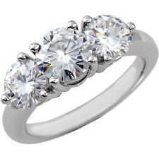 1 Ct Forever Classic Moissanite 3 Stone Engagement Ring 14k White Gold