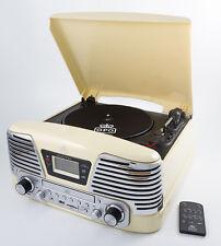 GPO MEMPHIS CREAM, 4 IN 1 VINYL TURNTABLE, CD PLAYER, MP3 PLAYER, FM RADIO
