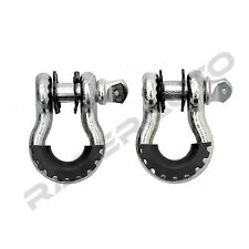 """1 Pair 3/4"""" Silver 4.75 ton D-ring Shackle+Black Isolator Washer Silencer Clevis"""