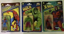 3 Kenner Marvel Legends Action Figures - Magneto, Hulk, and Spider-Man