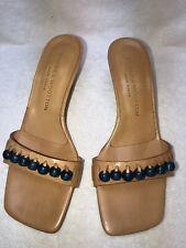 NEW Stubbs & Wootton Nude Leather Blue Cobalt Beads Kitten Heels Sandals SZ 7.5