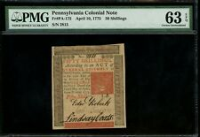 Us Colonial Currency Pennsylvania Note Fr# Pa-175 April 10, 1775 50S Pmg 63 Epq